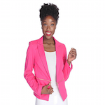 Elizabeth Banks' Whohaha-Bright Pink Blazer